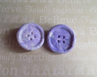 Set Of Two Cute Button Hair Clips - Light Purple