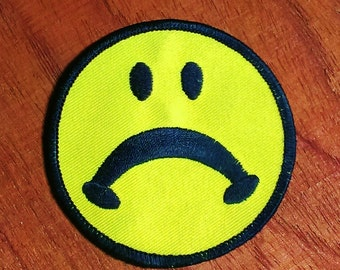 Vintage 1970's Sad Face Embroidered Patch