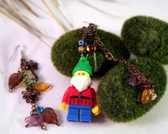 Lego Lawn Garden Gnome Minifigure Earrings Gnomeo and Juliet Flower Garden