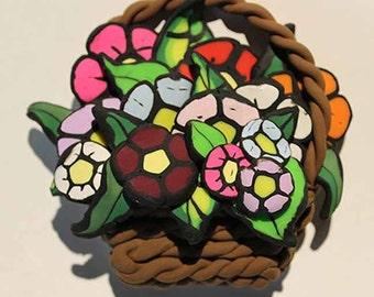 Polymer Clay Flower Basket Figurine