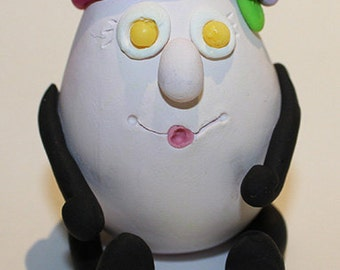 Polymer Clay Egg Friend Figurine, good for Decoration, Personalised Gift, Cake Topping, Cake Decoration, Cake Topper