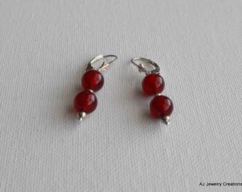 Carnelian and Sterling Silver Earrings  - Gemstone Jewelry        (GS-419)