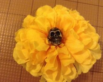 Barrette - Fascinator - Flower - Skull