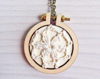 Mini Embroidery Hoop Necklace / Crochet / Bridesmaid Gift