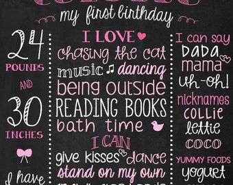 Chalkboard 1st Birthday Sign - Printable First Birthday Chalk Board - 1st Birthday Poster - 2nd Birthday - Pink Girl Birthday - Chalk Poster