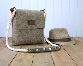 Felt Messenger bag with cotton rope strap, Medium satchel made of felt for men, Mens messenger bag, Messenger bag.