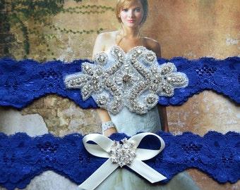 Royal Blue  Wedding Garter, Keepsake Garter,Royal Blue  Lace Garter, Garter Set, Toss Garter, Garter,Bridal Garter Set. Keepsake Garter
