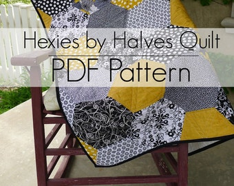 Hexies by Halves PDF Quilt Pattern - BEGINNERS or Experienced Quilters - Newly Updated with more back options