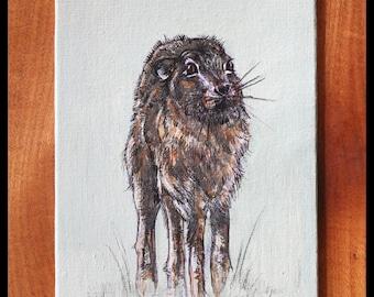 "ORIGINAL Acrylic Painting Brown Hare Art 5x7"" on canvas | British wildlife art animal nature handmade woodland neutral bunny rabbit"