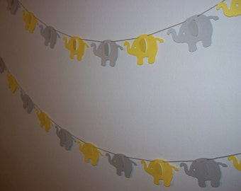 Garland - Primary Yellow and Grey Elephant Garland - Cardstock Paper - Baby Shower Decoration - Wall Decoration - Long or Short
