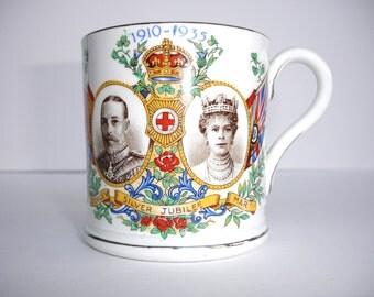 1935 Bovey Pottery Vintage Mug Cup 1935 Silver Jubilee George V Mary Dawlish