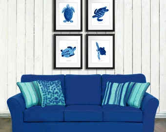 Summer Beach Wall Art Blue Sea Turtles Art Print Set Of 4 Beach Bathroom