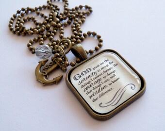 Serenity Prayer Necklace - God Grant Me The Serenity - Inspirational - Christian Jewelry -  Prayer Pendant - The Serenity Prayer - 002