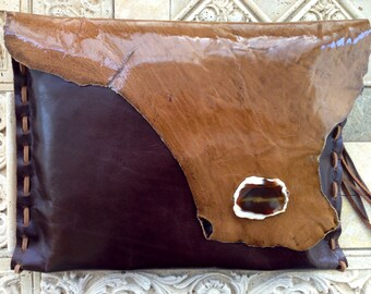 50% off handmade leather clutch