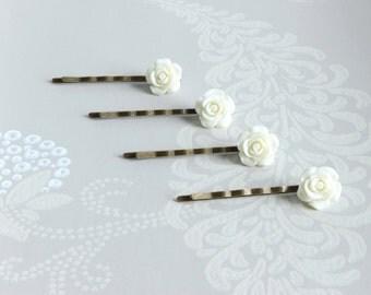 Ivory Roses Brass Bobby Pins, Set of 4 Ivory Flower Hair Pins, Wedding Hair Pins Set, Bridesmaid Bobby Pins Set, Flower Girl Accessories