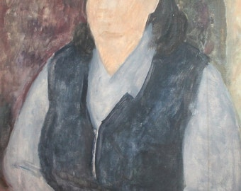 Vintage oil painting woman portrait