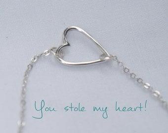 Dainty Silver or Gold Heart Bracelet