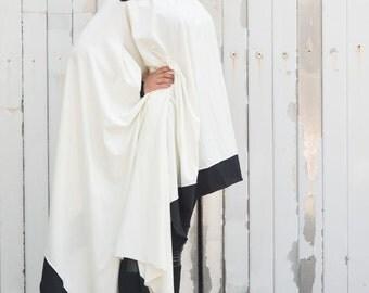 Asymmetric White Blouse / Cotton White Shirt / Oversize White Top / Monochrome Asymmetric Shirt / White Blouse