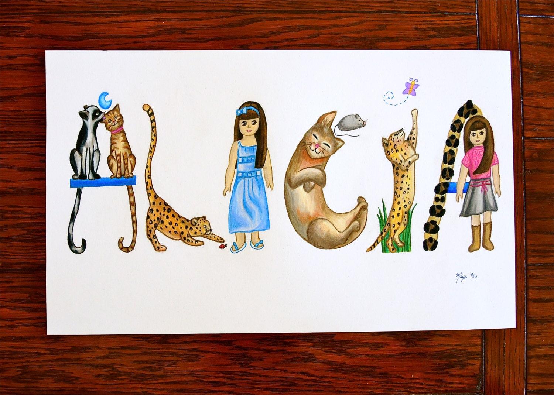 Name Art: Custom Girl Name Art For Kids' Room Decor Gifts For Cat