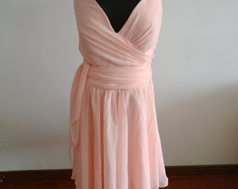 Customized blush pink bridesmaid dress light pink bridesmaid dresses chiffon dress wedding prom dress cheap bridesmaid dress v neck dress