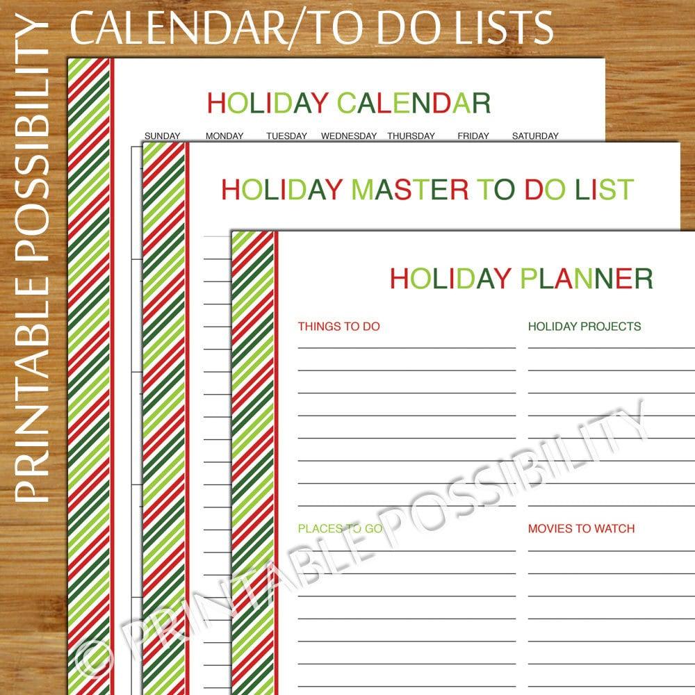 To Do Calendar Planner : Holiday calendar to do list planner christmas organizer