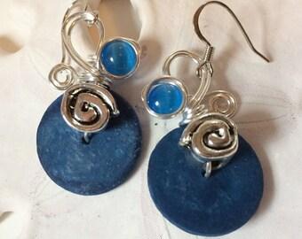 Funky Earrings, Big Blue Earrings, Gift for Wife, Dangle Earrings, Fun Earrings, Costume Jewelry, Lightweight Earrings, Boho Chic Jewelry