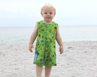 SEW SNAPPY Boy Romper PDF Pattern in sizes 3 months - 24 Months Easy Beginner Sewing Pattern