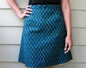 A-line Block Print Cotton Skirt in Dark Blue / Indigo