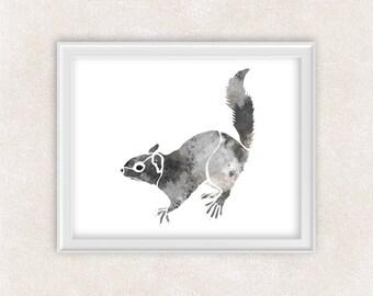 Squirrel Watercolor Art Print in Gray - Critter Art - Animal - Nursery Decor - Kids Wall Art 8x10 PRINT - Item #700A