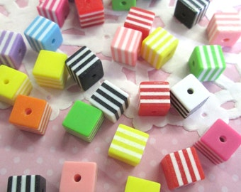 8mm Striped Square Cube Beads, Mix Stripe Resin Beads, 50 Pieces, #822
