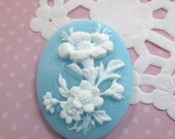 Blue Oval Flower Cameos Cabochon 30x40mm