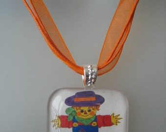 Fall, Halloween Thanksgiving Colorful SCARECROW Pumpkins - Glass Tile Pendant Art Necklace