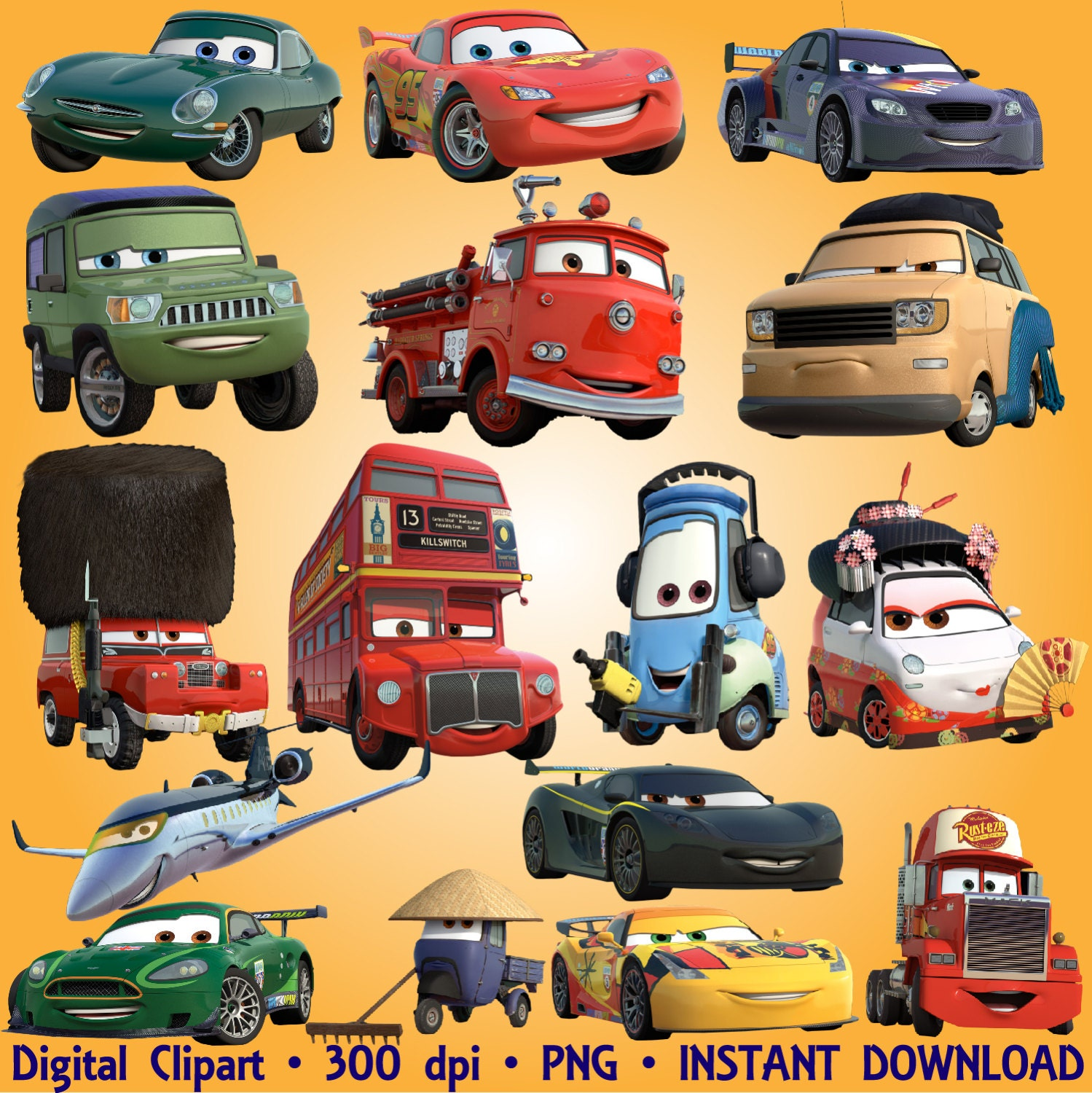 Cars Clipart Disney Cartoon 56 PNG Digital Graphic Disney