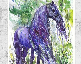 Bunny watercolor painting easter art animals prints bunny friesian horse watercolor painting equine art violet equestrian decor horse art print negle Image collections