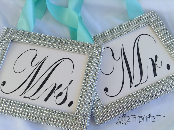 tiffany blue wedding sign , mr and mrs sign