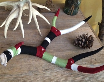 Yarn Bombed Mule Deer Shed Antler  /  Yarn Wrapped by Hand Deer Antler / Green Maroon White & Black Yarn
