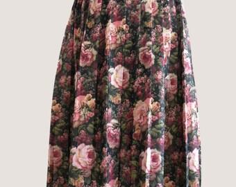 Vtg Cabbage Rose Long Skirt