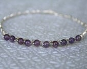 Genuine Amethyst and Sterling Silver Bangle Bracelet - Trend/Trending/Hot Item -Ready to Ship