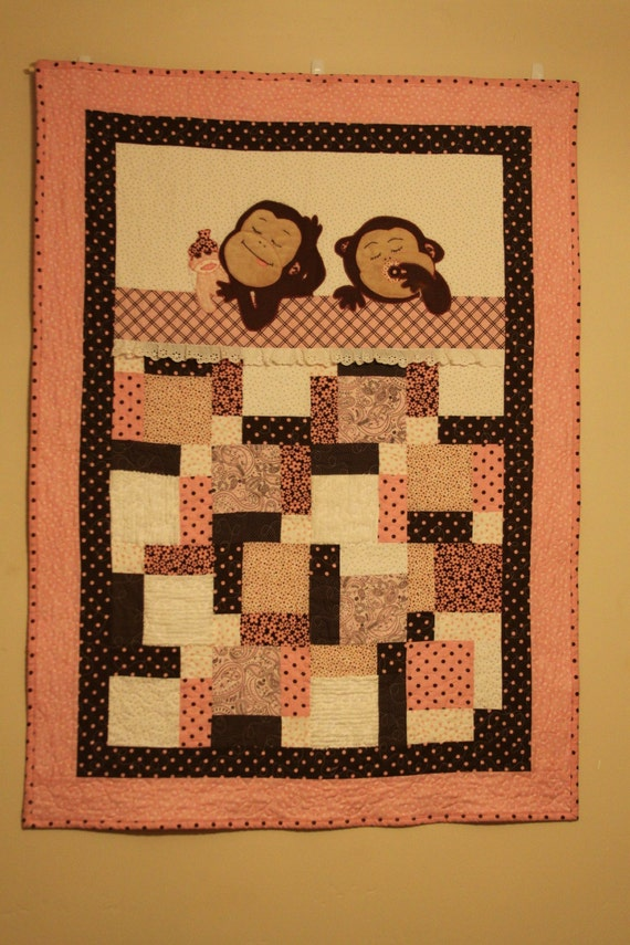 baby quilt pattern sleeping baby monkey quilt split nine patch