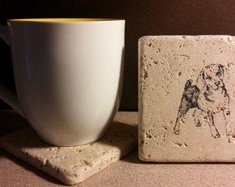 Set of 4 Beagle Tumbled  Stone Coasters