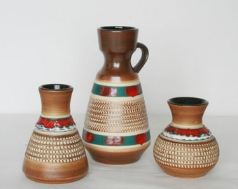 West Germany set of three small vases by Dümler & Breiden 1960s
