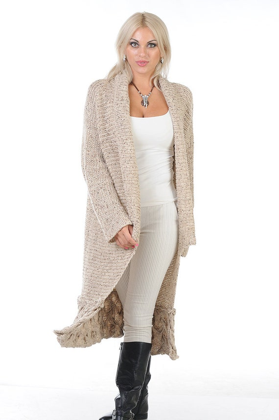 Hand Knit Long Cardigan Sweater of High Quality Beige Italian