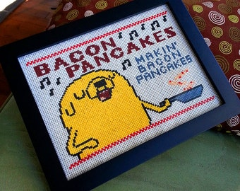 Bacon Pancakes Makin' Bacon Pancakes- Jake the dog Adventure time digital art cross stitch pattern 6x8 inch includes DMC colors DIY