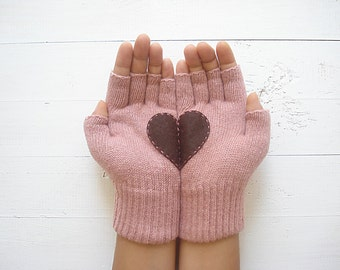 Gift For Her, Heart Gloves, Gift, Couple Gloves, Pink Gloves, Gift For Her, Girlfriend Gift, Love Gloves, Unique Gift