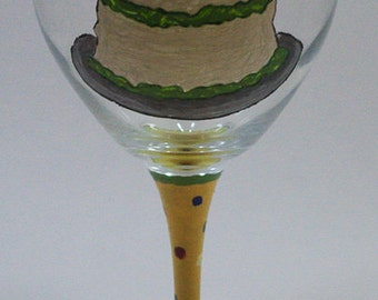Birthday Cake Hand Painted Wine Glass