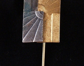 Art Deco Two Tone Brooch or Scarf Pin