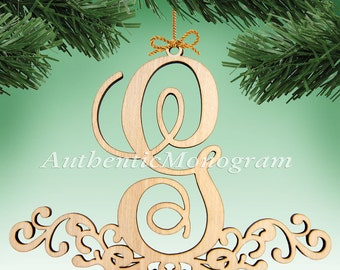 Wooden MONOGRAM ORNAMENT Single Letter unpainted 5inch Home Decor, Anniversary, Initial Monogram, Holiday, Nursery, Christmas Ornament 6101