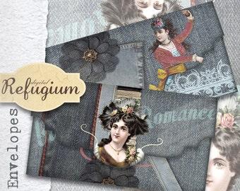 printable envelopes INSTANT DOWNLOAD collage sheet blue romance