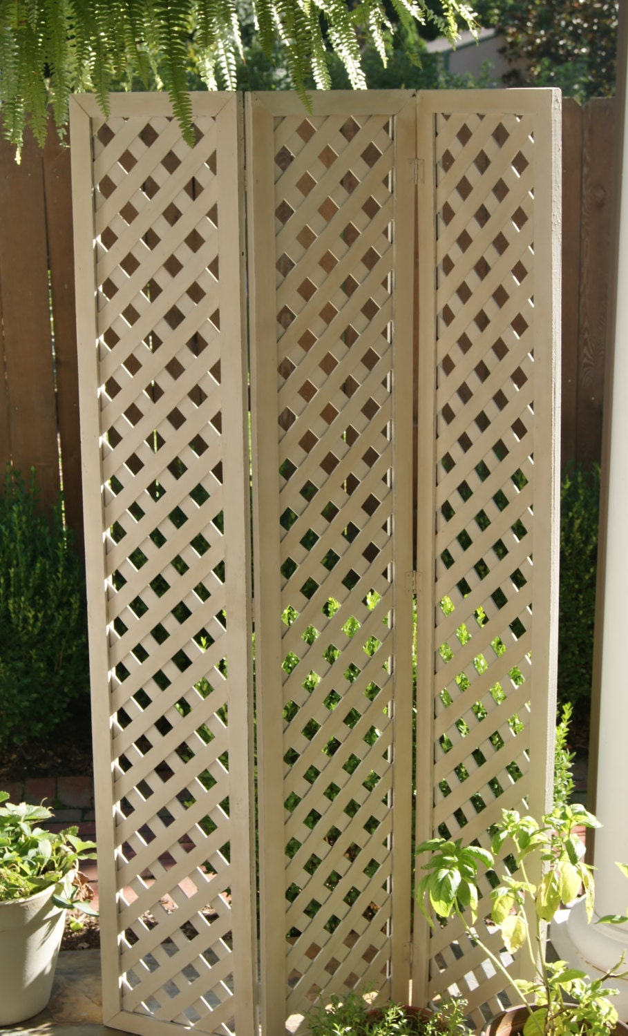 Wood Lattice Screen ~ Vintage wooden folding lattice screen room divider chalk