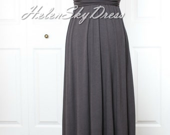 Dark Grey Bridesmaid Dress Convertible Infinity Wrap dress